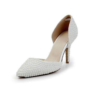 Women's White Patent Leather Pumps with Imitation Pearl #LDB03030590