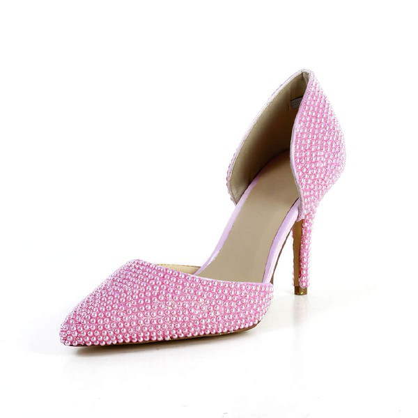 Women's Pink Patent Leather Pumps with Imitation Pearl #LDB03030591