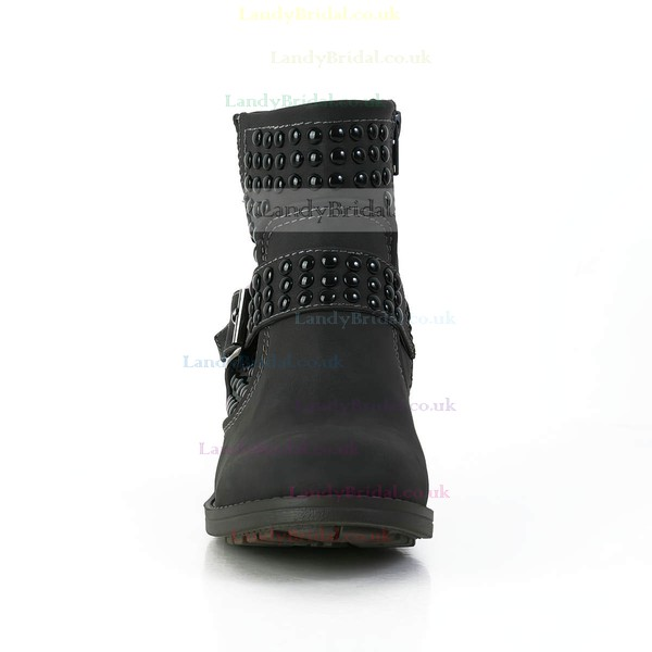 Women's Black Suede Ankle Boots with Buckle/Rivet