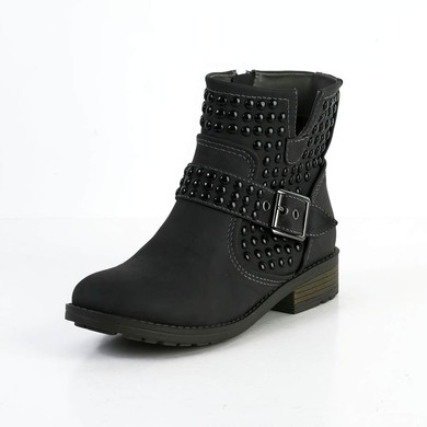 Women's Black Suede Ankle Boots with Buckle/Rivet #LDB03030593