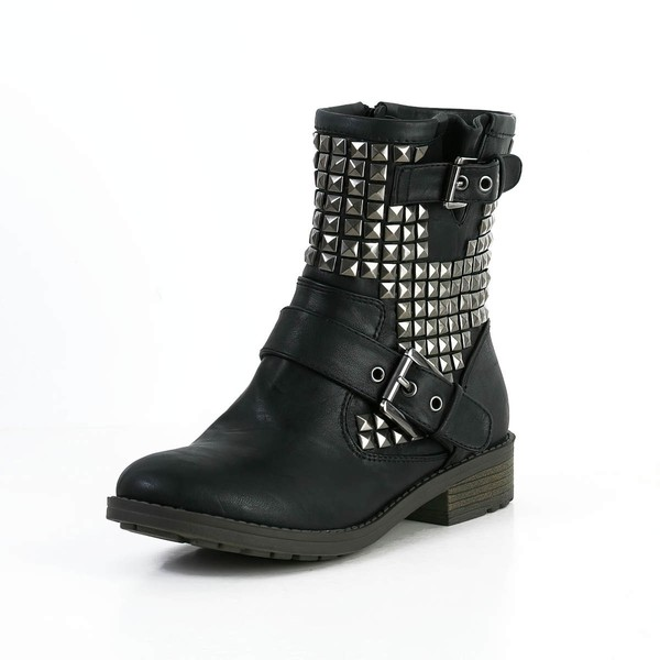 Women's Black Real Leather Ankle Boots with Buckle/Rivet #LDB03030594