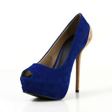 Women's Blue Suede Pumps #LDB03030596