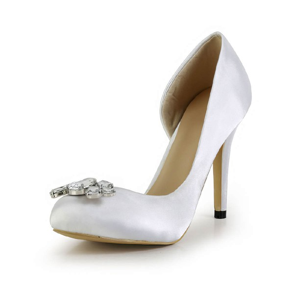 Women's White Silk Pumps with Crystal #LDB03030600