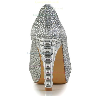Women's Silver Real Leather Pumps with Crystal/Crystal Heel #LDB03030601
