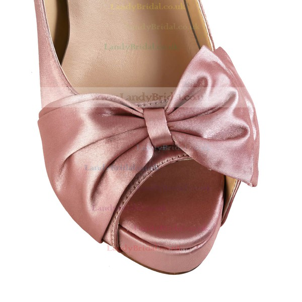 Women's Pink Silk Pumps with Bowknot