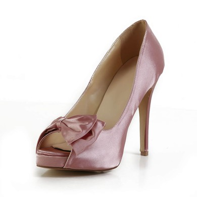 Women's Pink Silk Pumps with Bowknot #LDB03030602