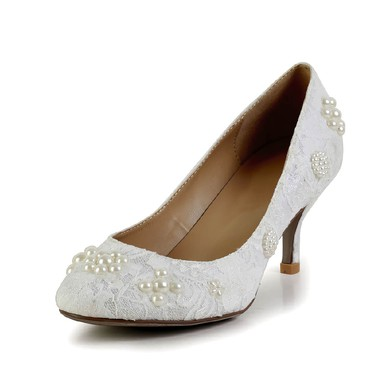 Women's White Lace Pumps with Pearl #LDB03030603