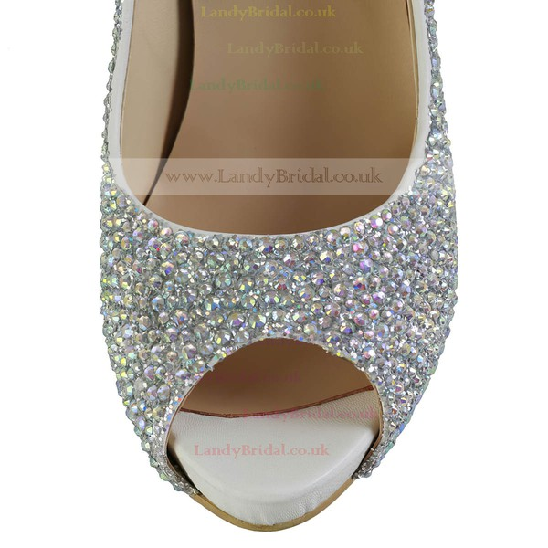 Women's Silver Real Leather Pumps with Crystal