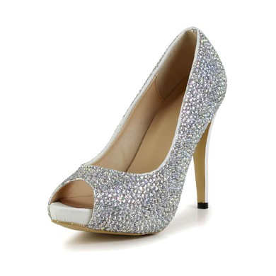 Women's Silver Real Leather Pumps with Crystal #LDB03030604