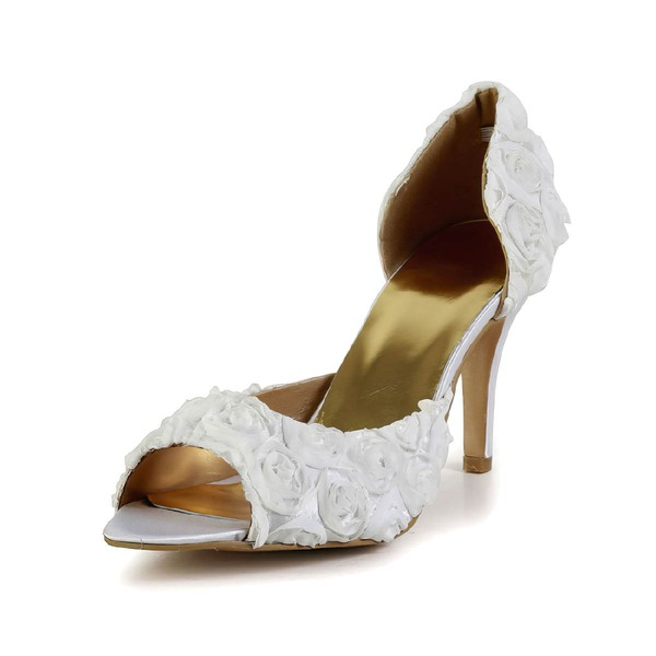 Women's White Satin Pumps with Flower