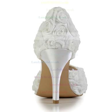 Women's White Satin Pumps with Flower #LDB03030605