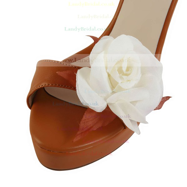Women's Brown Real Leather Pumps with Buckle/Flower