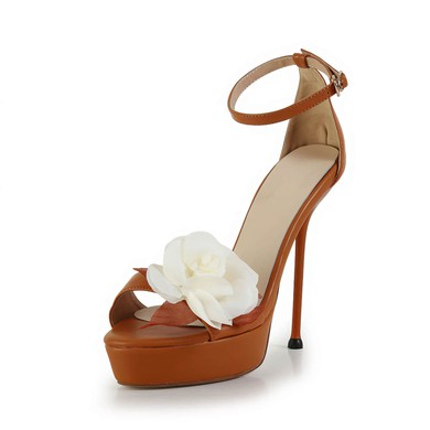 Women's Brown Real Leather Pumps with Buckle/Flower #LDB03030606