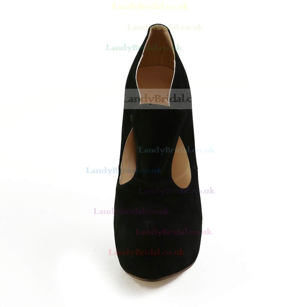 Women's Black Suede Pumps with Hollow-out