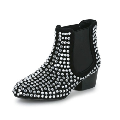 Women's Black Suede Ankle Boots with Crystal/Split Joint #LDB03030608