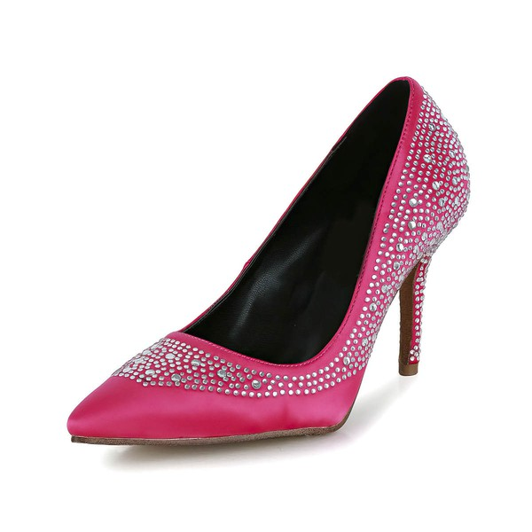 Women's Fuchsia Silk Pumps with Crystal/Crystal Heel #LDB03030612