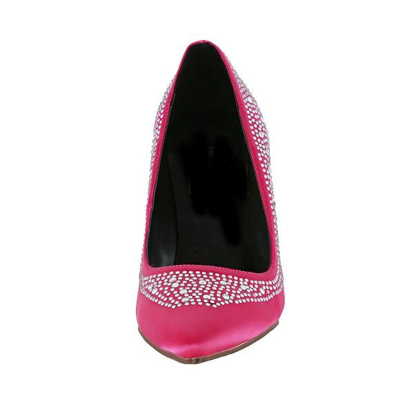 Women's Fuchsia Silk Pumps with Crystal/Crystal Heel