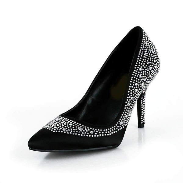 Women's Black Silk Pumps with Crystal/Crystal Heel #LDB03030613