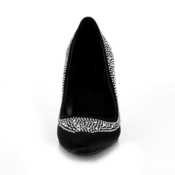 Women's Black Silk Pumps with Crystal/Crystal Heel