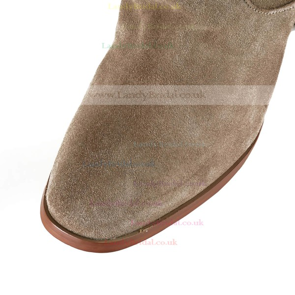 Women's Camel Suede Ankle Boots with Split Joint