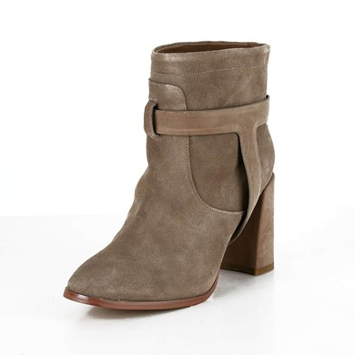 Women's Camel Suede Ankle Boots with Split Joint #LDB03030614