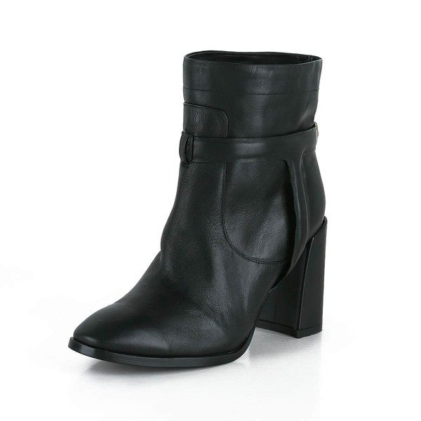 Women's Black Real Leather Ankle Boots