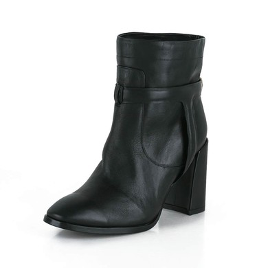 Women's Black Real Leather Ankle Boots #LDB03030615