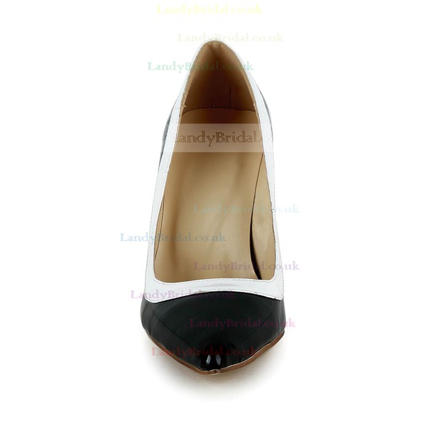 Women's Black Patent Leather Pumps with Split Joint