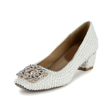 Women's White Patent Leather Pumps with Crystal/Pearl #LDB03030617
