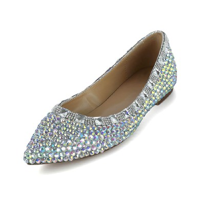 Women's Multi-color Patent Leather Flats with Crystal #LDB03030618