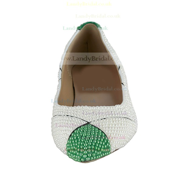 Women's White Patent Leather Flats with Imitation Pearl