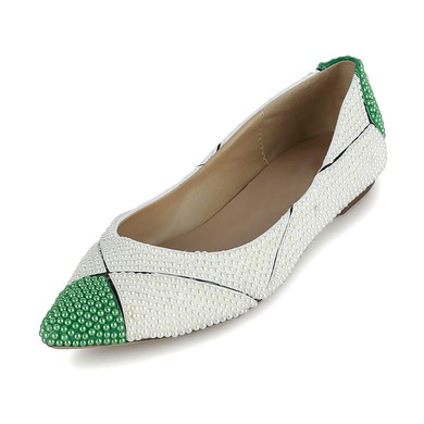 Women's White Patent Leather Flats with Imitation Pearl #LDB03030619