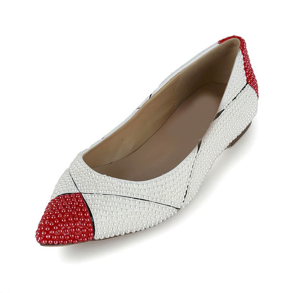 Women's White Patent Leather Flats with Imitation Pearl #LDB03030620