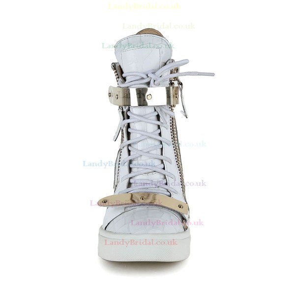 Women's White Real Leather Ankle Boots with Zipper/Lace-up