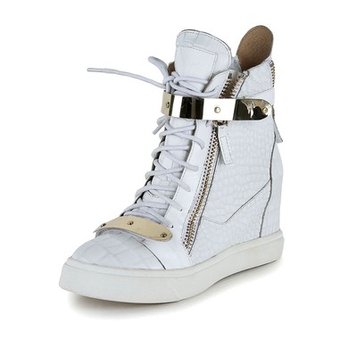 Women's White Real Leather Ankle Boots with Zipper/Lace-up #LDB03030621