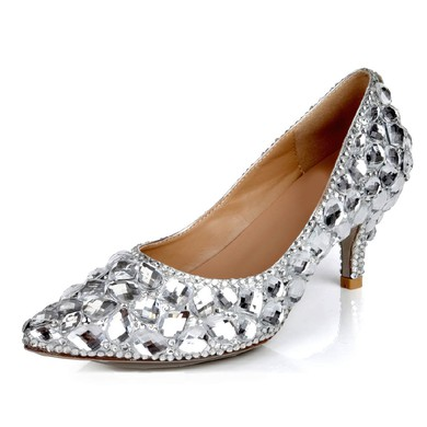 Women's Silver Real Leather Pumps with Crystal/Crystal Heel #LDB03030623