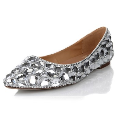 Women's Silver Real Leather Flats with Crystal #LDB03030624