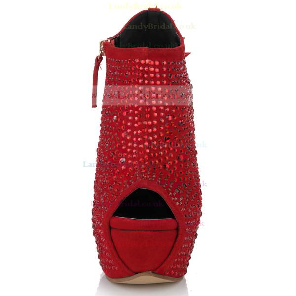 Women's Red Suede Peep Toe with Zipper/Crystal/Rivet