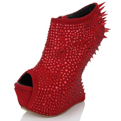 Women's Red Suede Peep Toe with Zipper/Crystal/Rivet #LDB03030626