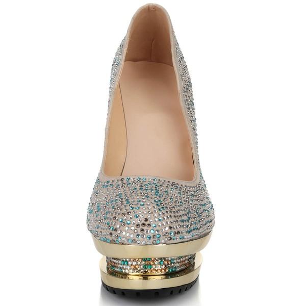 Women's Multi-color Suede Pumps with Crystal/Crystal Heel
