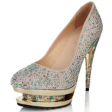 Women's Multi-color Suede Pumps with Crystal/Crystal Heel #LDB03030627