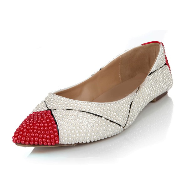 Women's White Patent Leather Flats with Imitation Pearl #LDB03030628