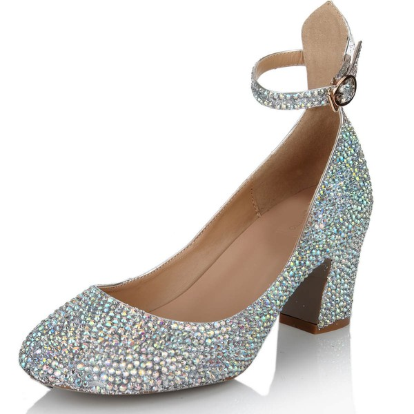 Women's Multi-color Real Leather Pumps with Buckle/Crystal/Crystal Heel #LDB03030631