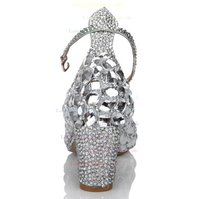 Women's Silver Real Leather Pumps with Buckle/Crystal/Crystal Heel #LDB03030632
