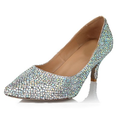 Women's Multi-color Real Leather Pumps with Crystal/Crystal Heel #LDB03030633