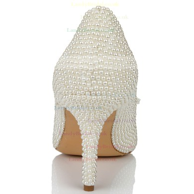Women's White Patent Leather Pumps with Bowknot/Pearl #LDB03030637