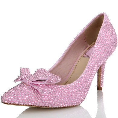 Women's Pink Patent Leather Pumps with Bowknot/Pearl #LDB03030638