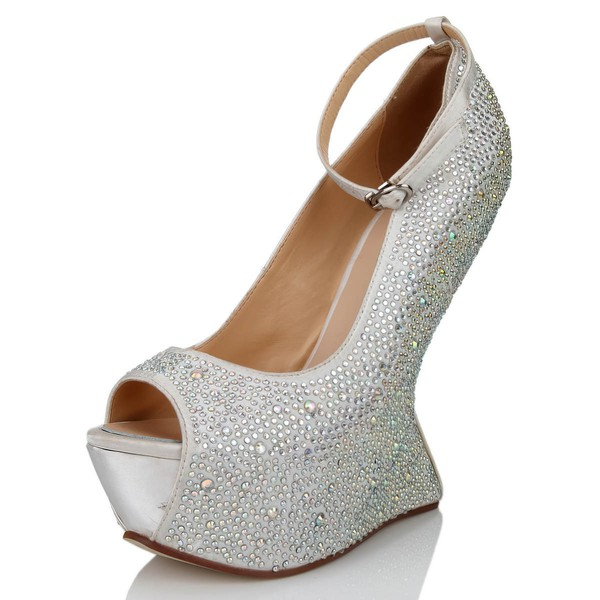 Women's White Silk Peep Toe with Buckle/Crystal