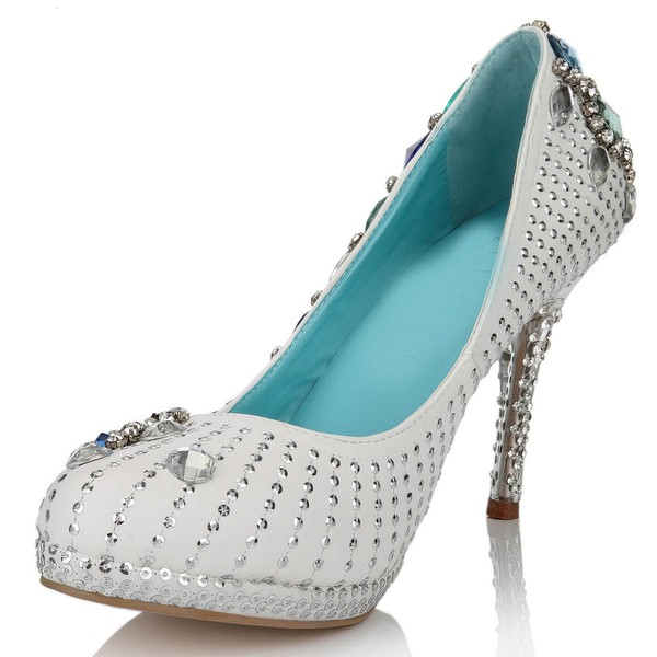 Women's White Real Leather Pumps with Crystal/Crystal Heel #LDB03030640