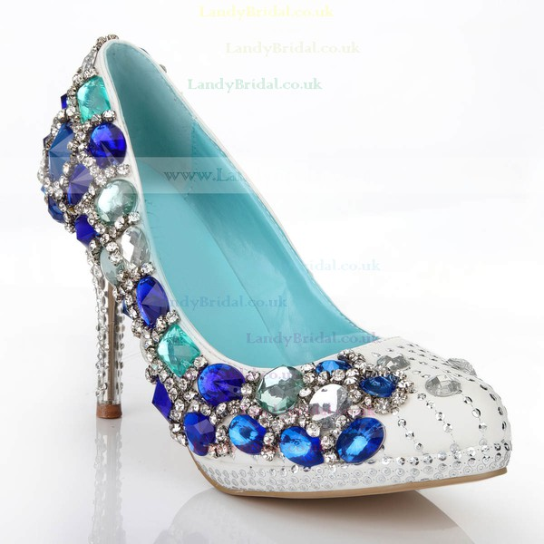 Women's White Real Leather Pumps with Crystal/Crystal Heel